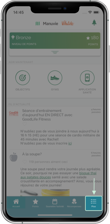 Capture d'écran soulignant une option du menu Plus d'options