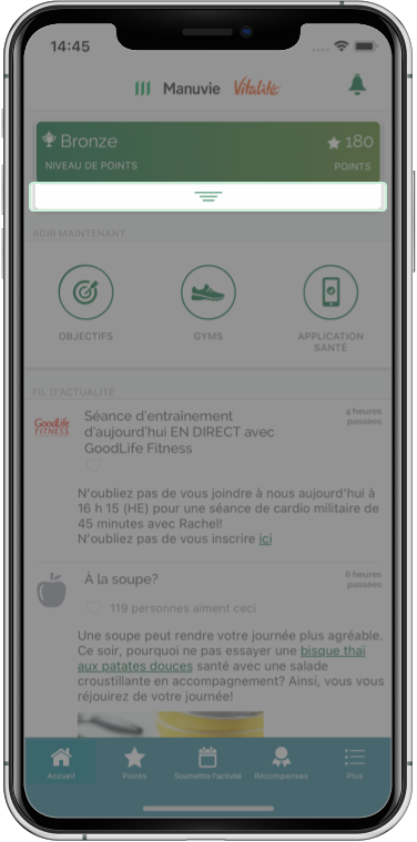 Capture d'écran soulignant le menu Statut de points