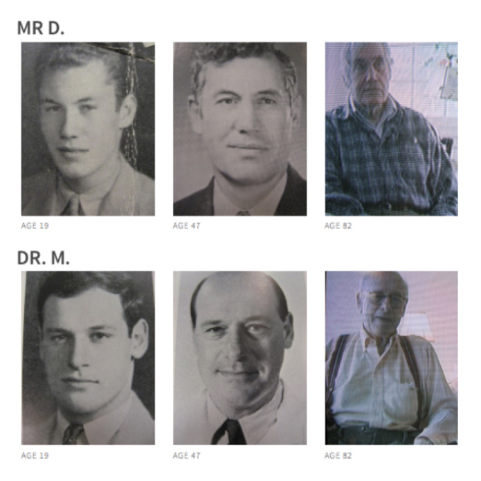 These two men participated in the Harvard Grant study. They are pictured here at different points in their lives while they were being documented.